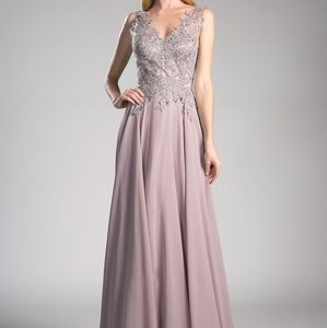 Lace V-Neckline A-Line Prom Dress CD9177